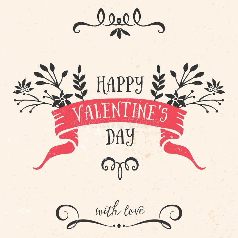 Tarjeta de felicitación del día de tarjeta del día de San Valentín con la cinta, letras stock de ilustración