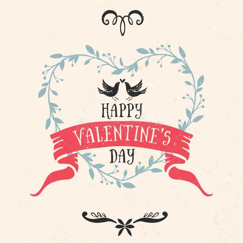 Tarjeta de felicitación del día de tarjeta del día de San Valentín con la cinta, letras ilustración del vector
