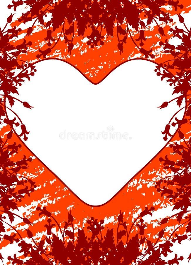 Tarjeta de felicitación del día de tarjeta del día de San Valentín con las flores y corazón en el grunge b imagen de archivo libre de regalías