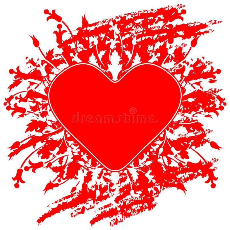 Tarjeta de felicitación del día de tarjeta del día de San Valentín con las flores y corazón en el grunge b foto de archivo