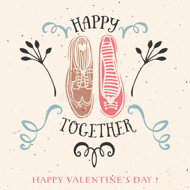 Tarjeta de felicitación del día de tarjeta del día de San Valentín con las letras ilustración del vector