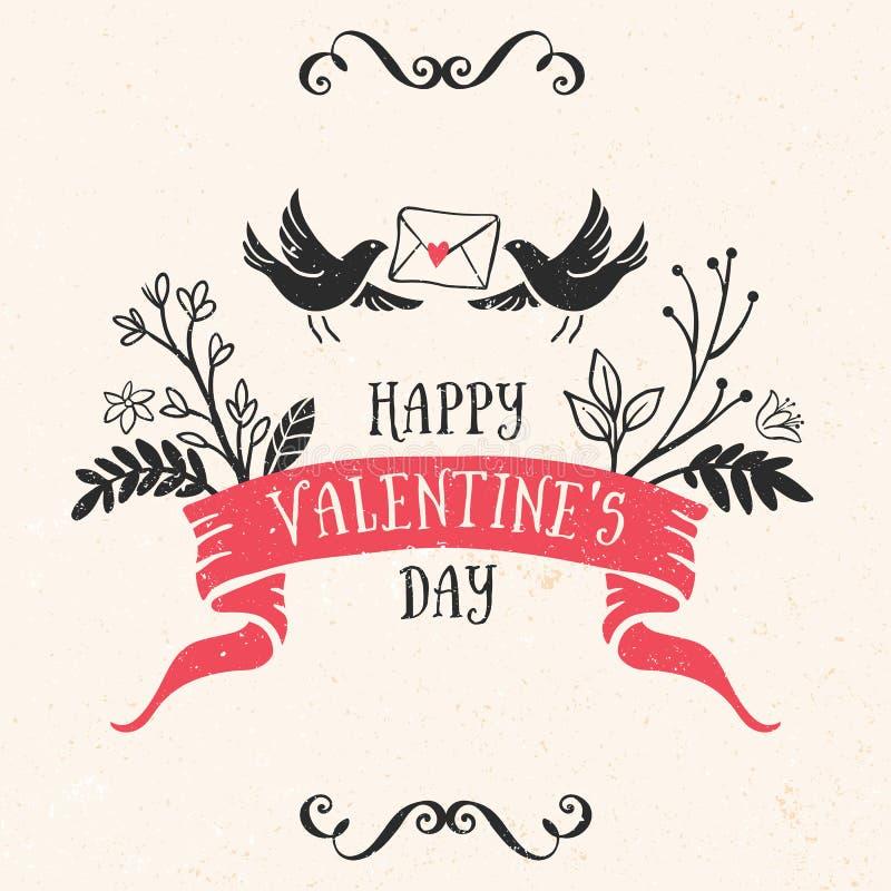 Tarjeta de felicitación del día de tarjeta del día de San Valentín con las letras, cinta, pájaros stock de ilustración