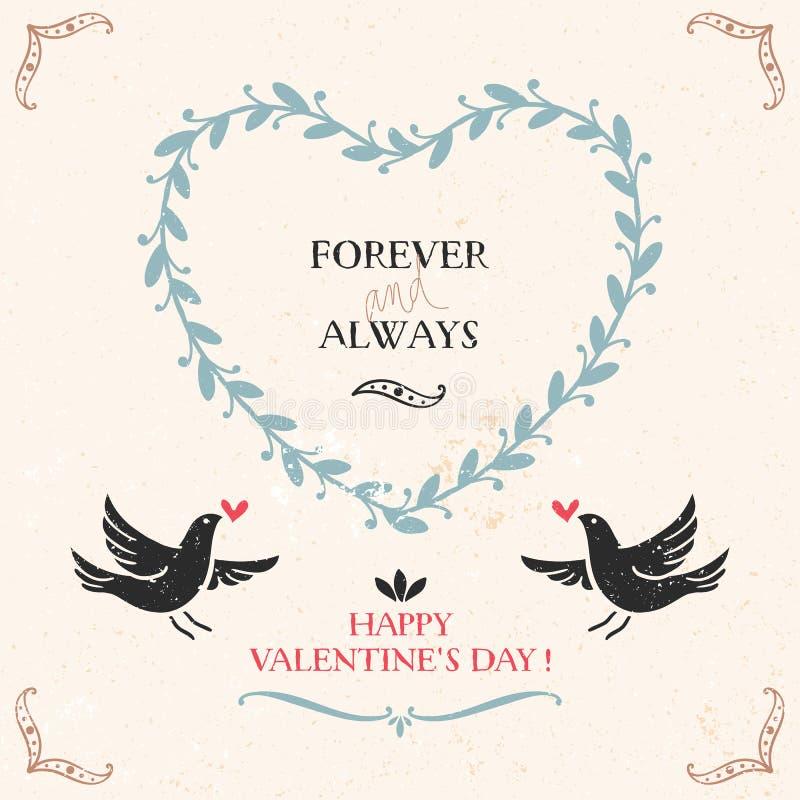 Tarjeta de felicitación del día de tarjeta del día de San Valentín con los pájaros, letras stock de ilustración