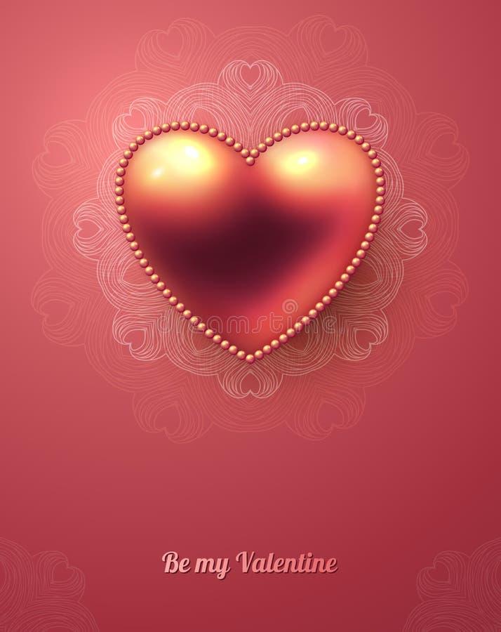 Tarjeta de felicitación del día de tarjeta del día de San Valentín con rosa brillante stock de ilustración
