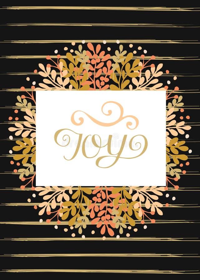 Tarjeta de felicitación del día de fiesta con alegría de las letras de la mano en fondo rayado negro stock de ilustración