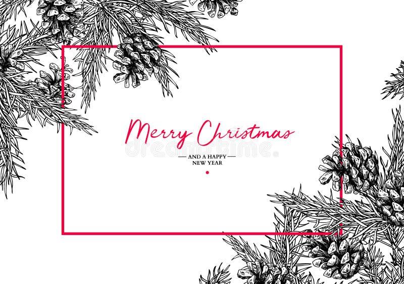 Tarjeta de felicitación del día de fiesta de la Navidad con el árbol de abeto y el cono del pino Vec ilustración del vector