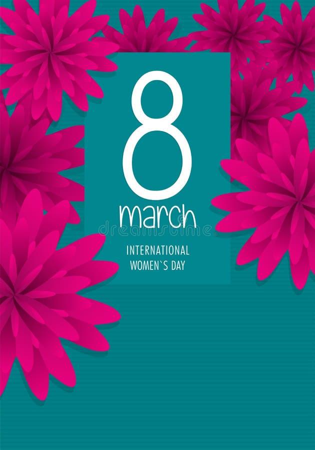 Tarjeta de felicitación del DÍA INTERNACIONAL de las MUJERES S Texto en el color blanco rodeado por las flores violetas en fondo  stock de ilustración
