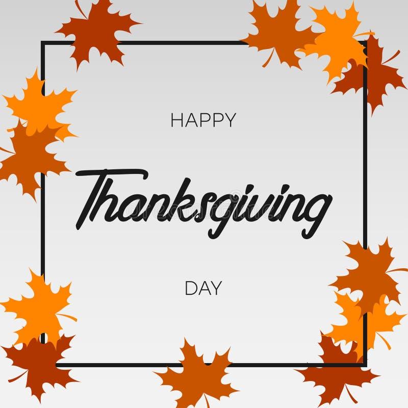 Tarjeta de felicitación del día de la acción de gracias con la hoja de arce y el marco del otoño Vector stock de ilustración