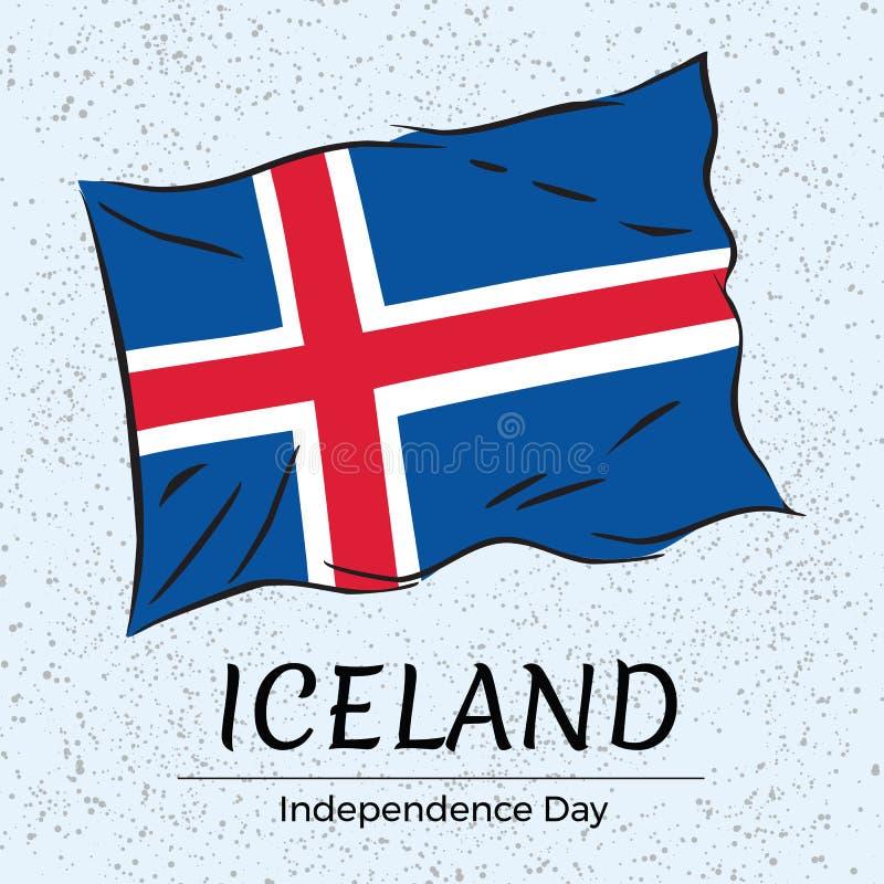 Tarjeta de felicitación del Día de la Independencia de Islandia ilustración del vector