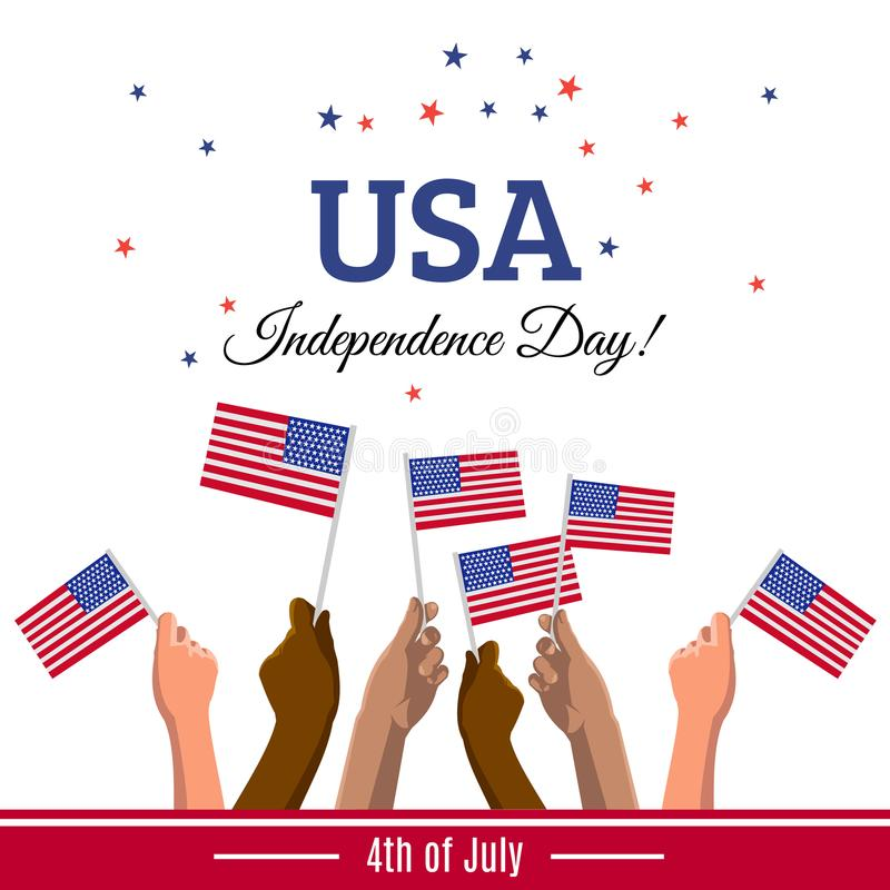 Tarjeta de felicitación del Día de la Independencia de los E.E.U.U. con las banderas americanas en las manos de la gente joven libre illustration