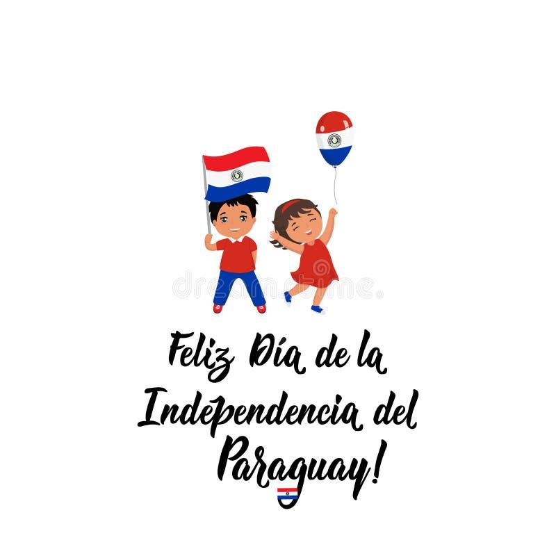 Tarjeta de felicitación del Día de la Independencia de Paraguay texto en español: Día de la Independencia feliz 14 de mayo y déci stock de ilustración