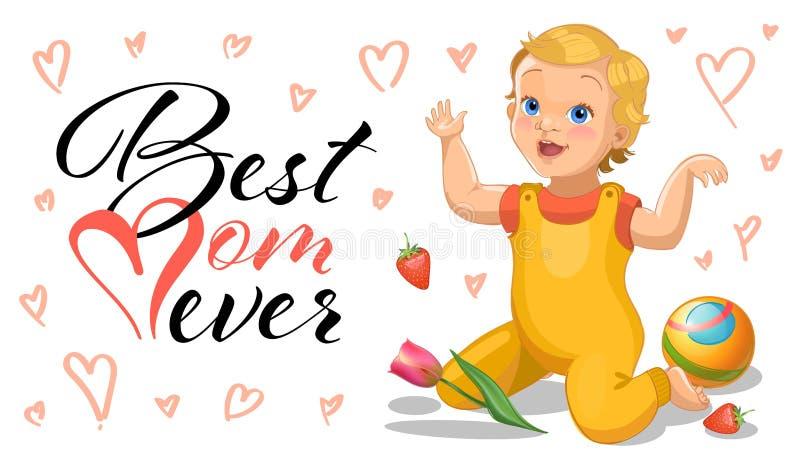 Tarjeta de felicitación del día de la madre s con la historieta relistic y el bebé de goma de la bola y flores - día de las mujer ilustración del vector