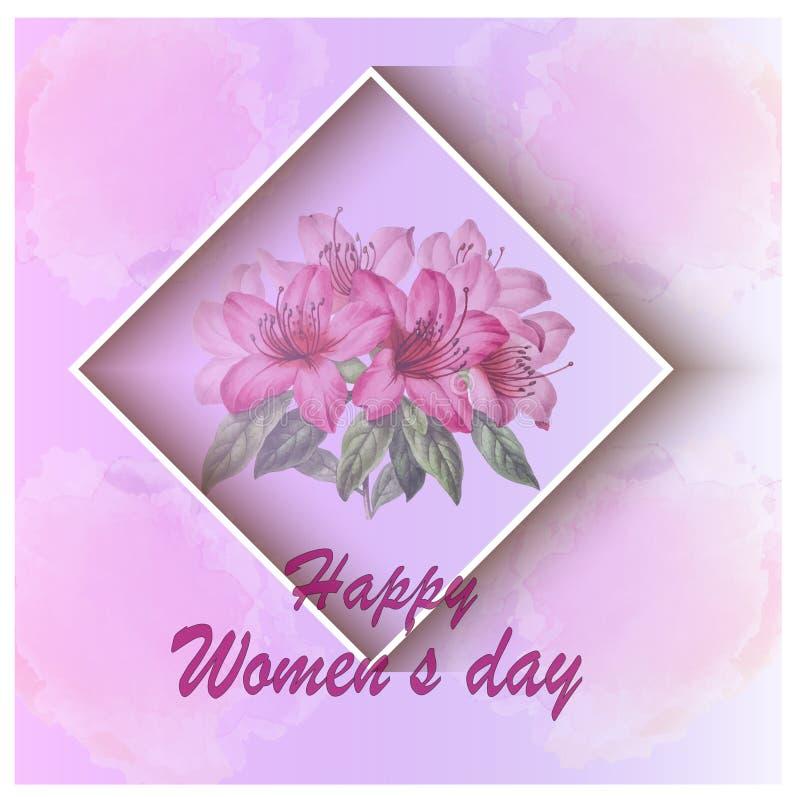 Tarjeta de felicitación del día de las mujeres con el fondo de las flores libre illustration