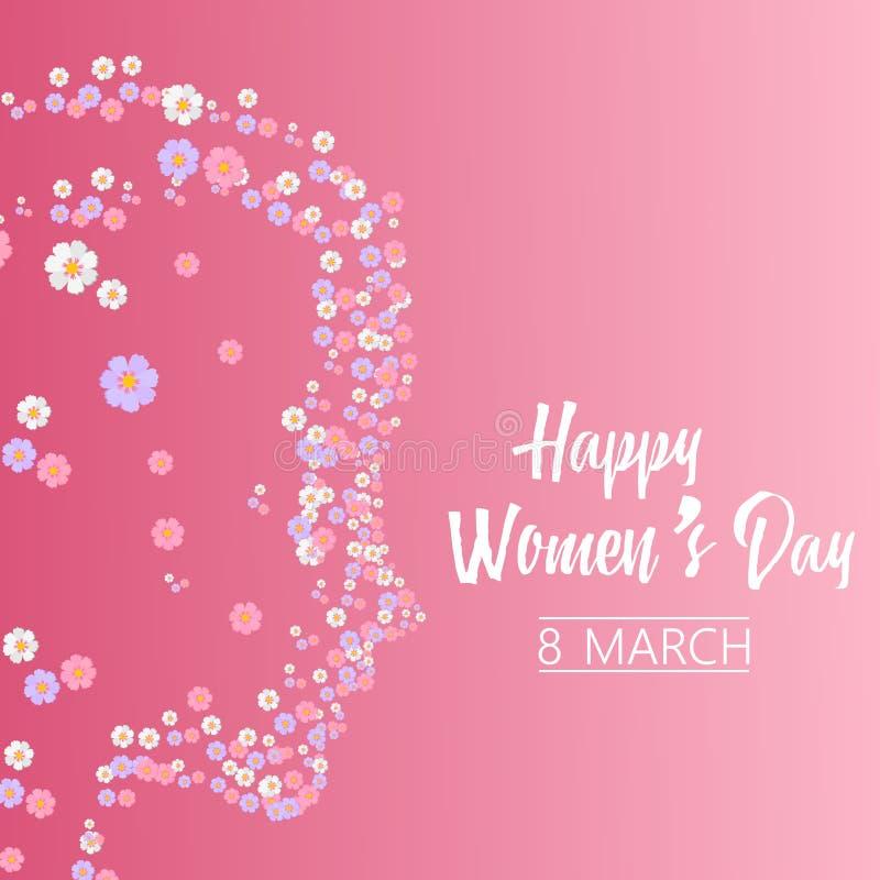 Tarjeta de felicitación del día de las mujeres felices con la cara de la mujer de las flores Vector stock de ilustración