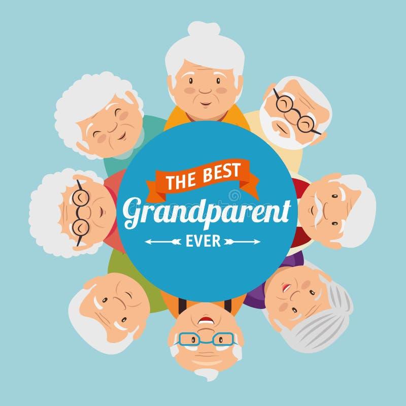 Tarjeta de felicitación del día de los abuelos stock de ilustración
