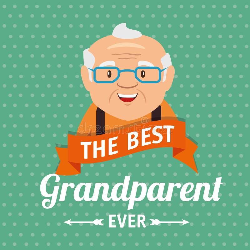 Tarjeta de felicitación del día de los abuelos ilustración del vector