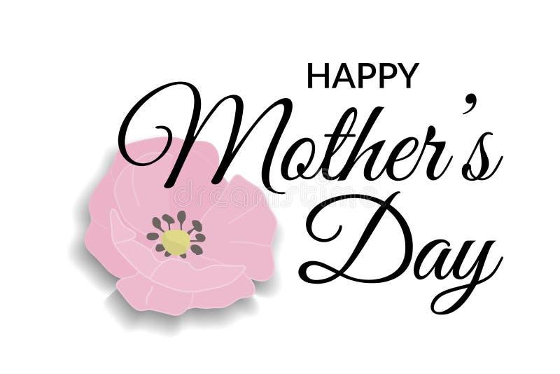 tarjeta de felicitación del día de madres Poniendo letras a diseño caligráfico en el negro aislado en el fondo blanco con la rosa stock de ilustración