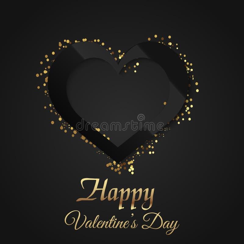 Tarjeta de felicitación del día del ` s de la tarjeta del día de San Valentín con el corazón negro que brilla intensamente en fon libre illustration
