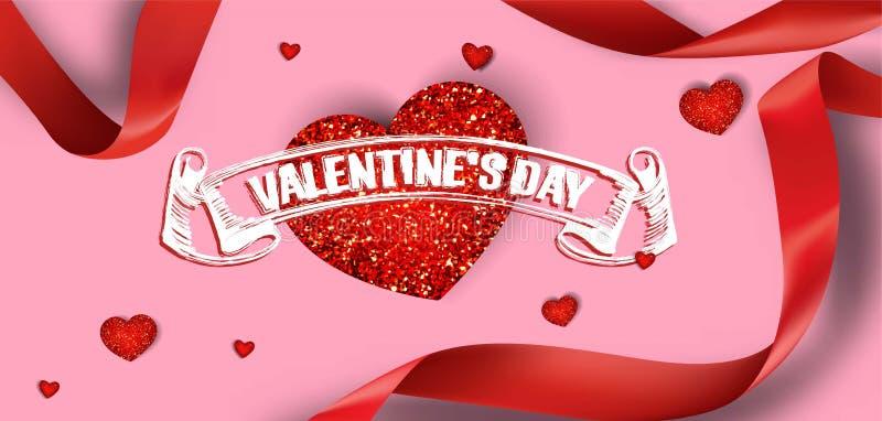 Tarjeta de felicitación del día del ` s de la tarjeta del día de San Valentín con los corazones y las cintas rojos stock de ilustración