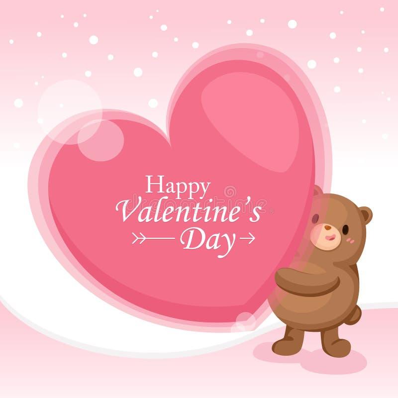 Tarjeta de felicitación del día del `s de la tarjeta del día de San Valentín El corazón grande con lindo refiere el fondo rosado ilustración del vector