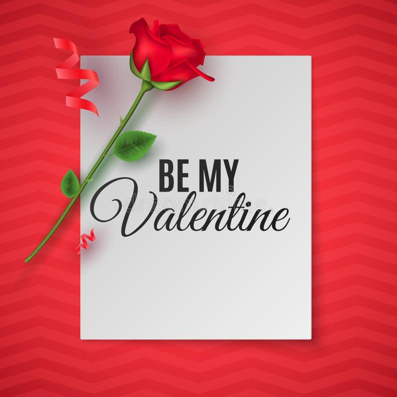Tarjeta de felicitación del día del `s de la tarjeta del día de San Valentín Visión superior Composición romántica La nota de pap ilustración del vector
