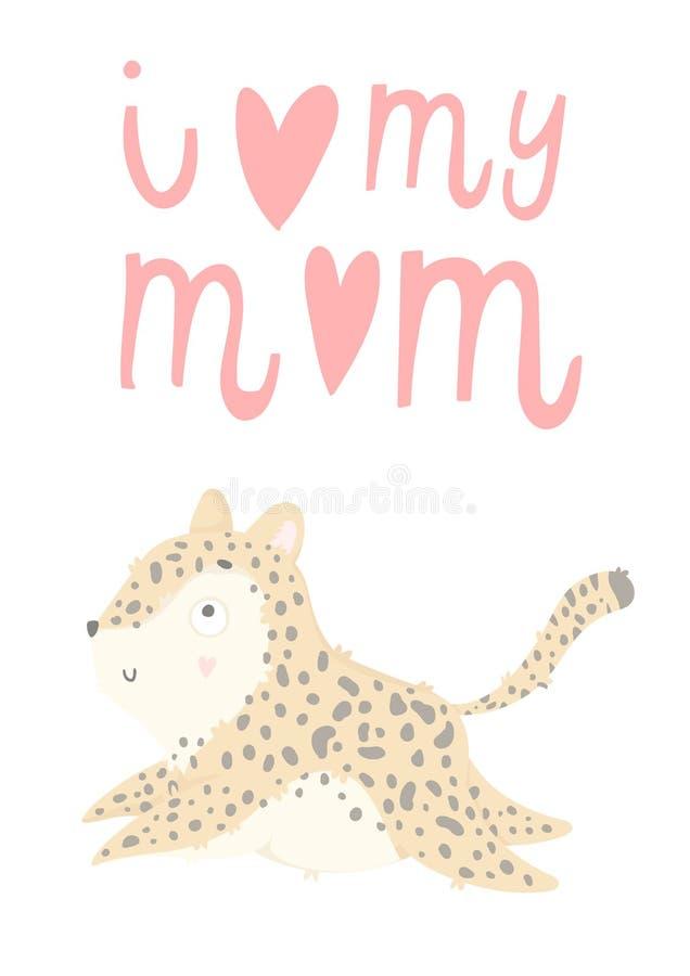 Tarjeta de felicitación del día del ` s de Mather con el leopardo dibujado mano linda del bebé ilustración del vector