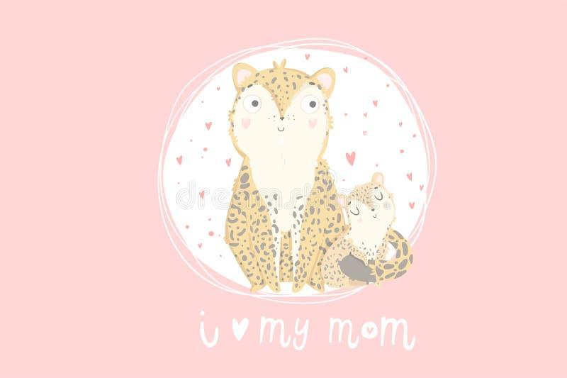 Tarjeta de felicitación del día del ` s de Mather Tarjeta linda con el leopardo de la madre con su niño ilustración del vector