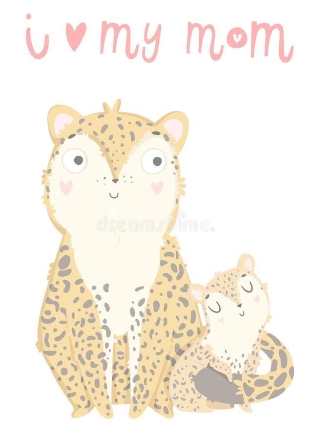 Tarjeta de felicitación del día del ` s de Mather Tarjeta linda con el leopardo de la madre con su niño libre illustration