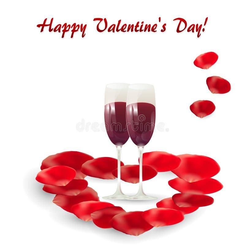 Tarjeta de felicitación del día de tarjeta del día de San Valentín con dos copas de vino y pétalos de rosa stock de ilustración