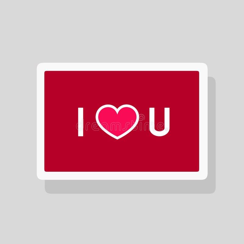 Tarjeta de felicitación del día de tarjeta del día de San Valentín te amo con forma abreviada del texto y del corazón Diseño mini ilustración del vector