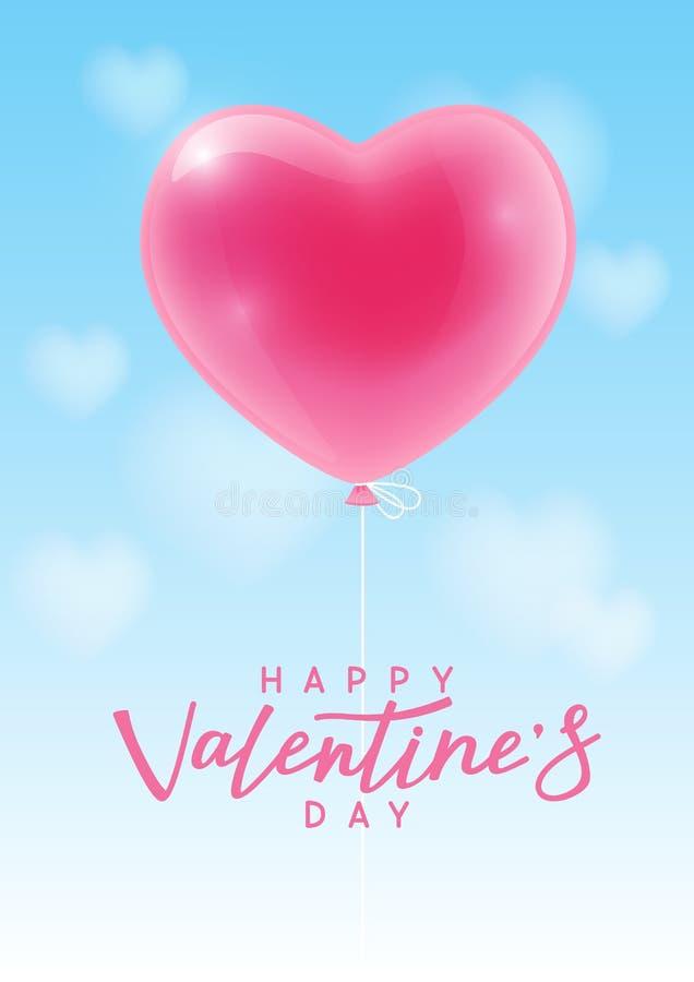 Tarjeta de felicitación del día de tarjetas del día de San Valentín con el globo del corazón ilustración del vector