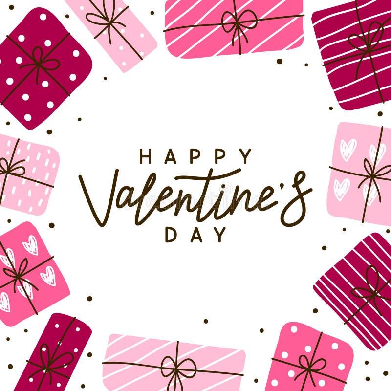 Tarjeta de felicitación del día de tarjetas del día de San Valentín con los regalos ilustración del vector