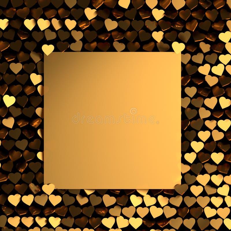 Tarjeta de felicitación del día de tarjetas del día de San Valentín con muchos corazones brillantes de oro stock de ilustración