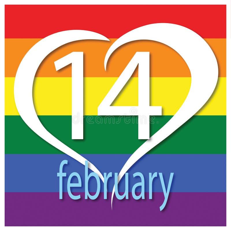 Tarjeta de felicitación del día de tarjetas del día de San Valentín Emoción, sensación 14 de febrero Ilustración del vector ilustración del vector
