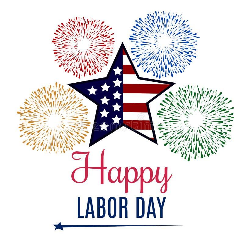 Tarjeta de felicitación del Día del Trabajo de los E.E.U.U. con colores de la bandera nacional de Estados Unidos Ilustraci?n del  libre illustration