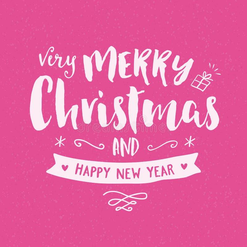 Tarjeta de felicitación del dibujo de la mano del vintage de la Feliz Navidad stock de ilustración