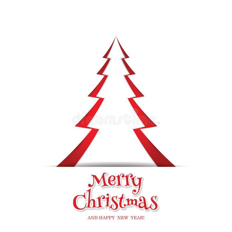Tarjeta de felicitación del diseño del árbol del papel de Feliz Navidad stock de ilustración