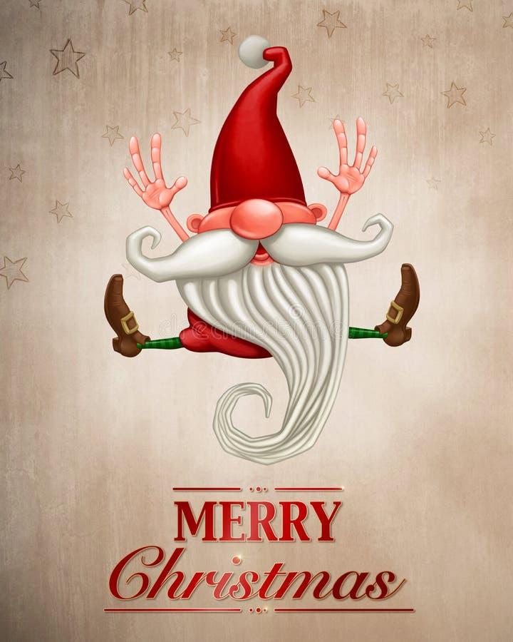 Tarjeta de felicitación del duende de la feliz Navidad stock de ilustración