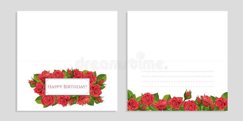Tarjeta de felicitación del ejemplo del vector de la rosa del rojo con el marco fotografía de archivo