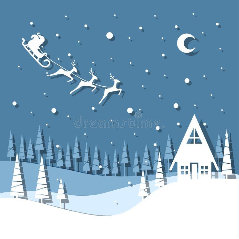 Tarjeta de felicitación del ejemplo del vector por vacaciones de invierno Papá Noel con los renos ilustración del vector