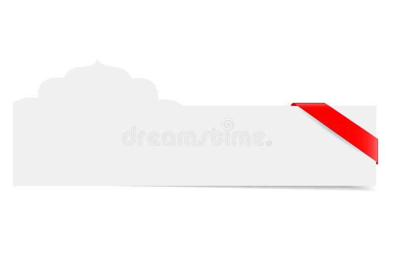 Tarjeta de felicitación del espacio en blanco de la forma de la mezquita con la cinta roja ilustración del vector