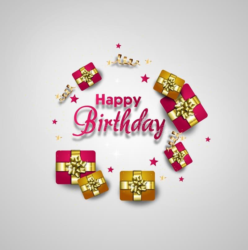 Tarjeta de felicitación del feliz cumpleaños adornada con los regalos libre illustration