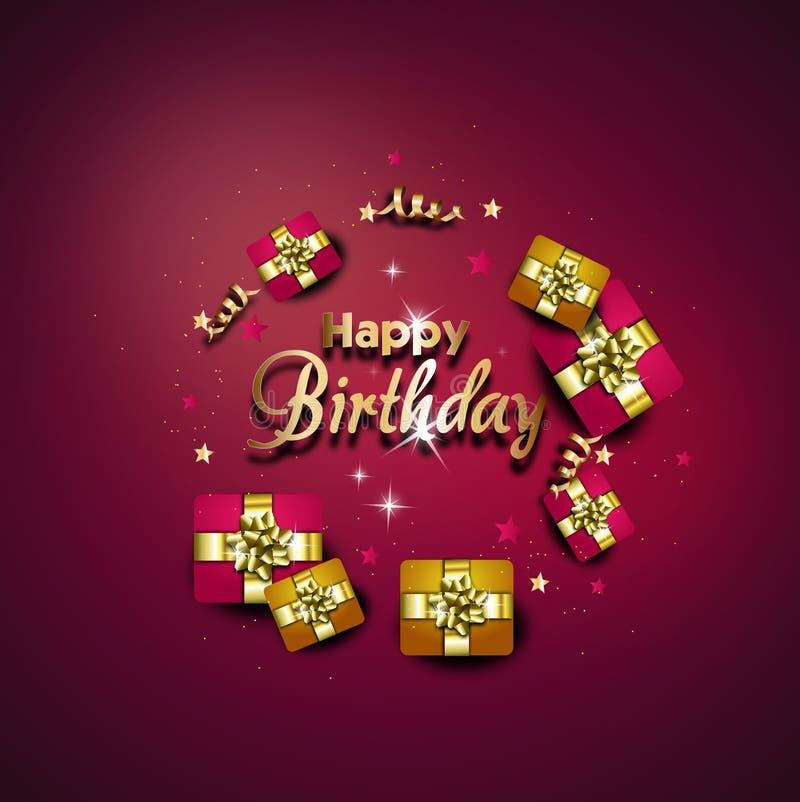 Tarjeta de felicitación del feliz cumpleaños adornada con los regalos stock de ilustración
