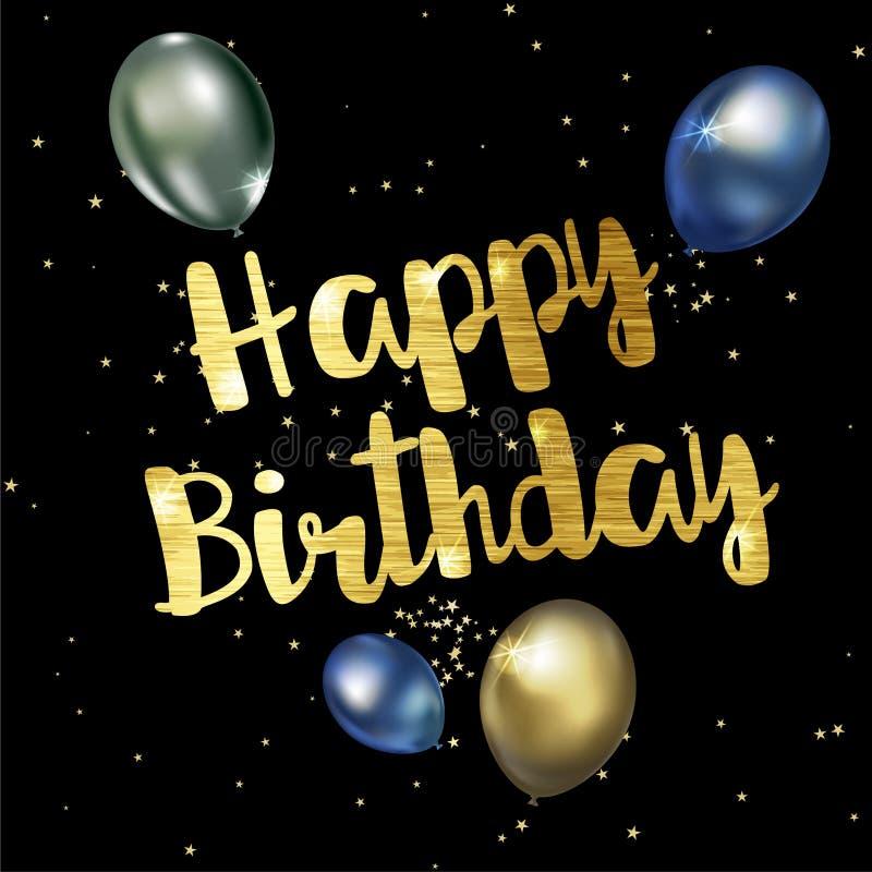 Tarjeta de felicitación del feliz cumpleaños con las letras elegantes de oro stock de ilustración