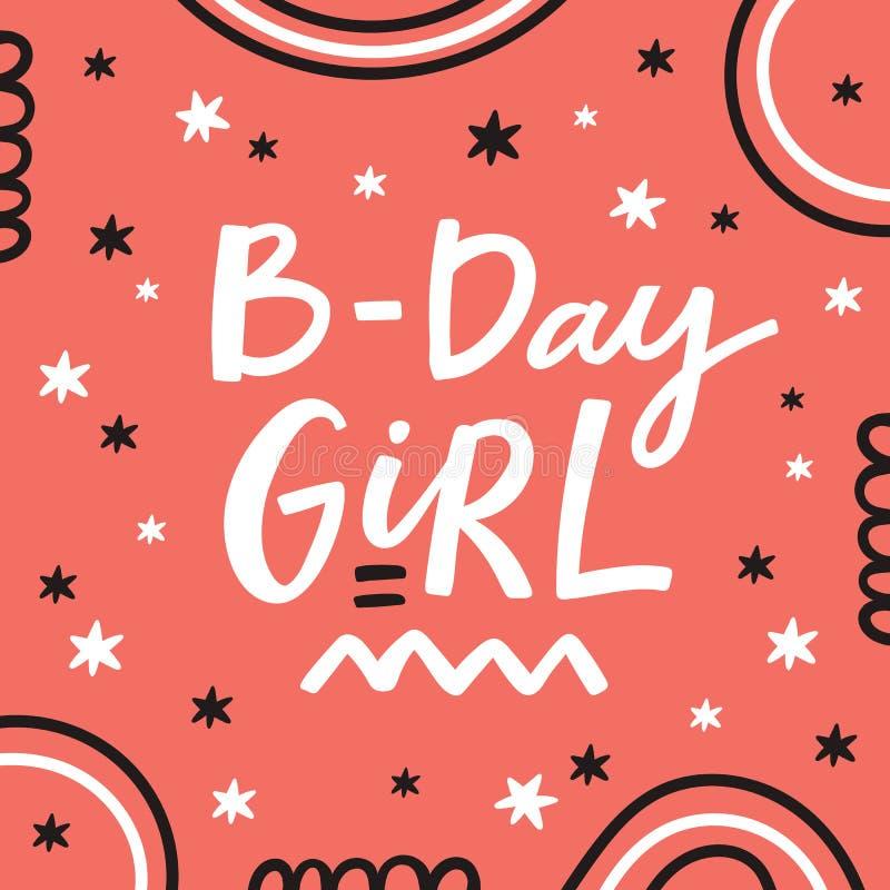 Tarjeta de felicitación del feliz cumpleaños con las letras handdrawn stock de ilustración
