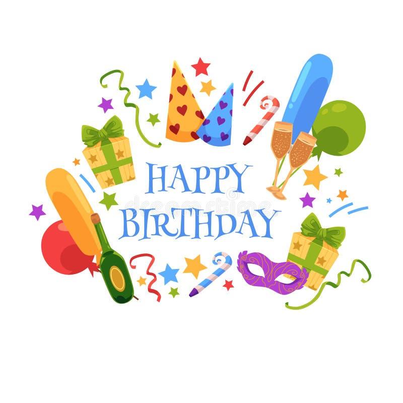 Tarjeta de felicitación del feliz cumpleaños con los objetos del partido libre illustration