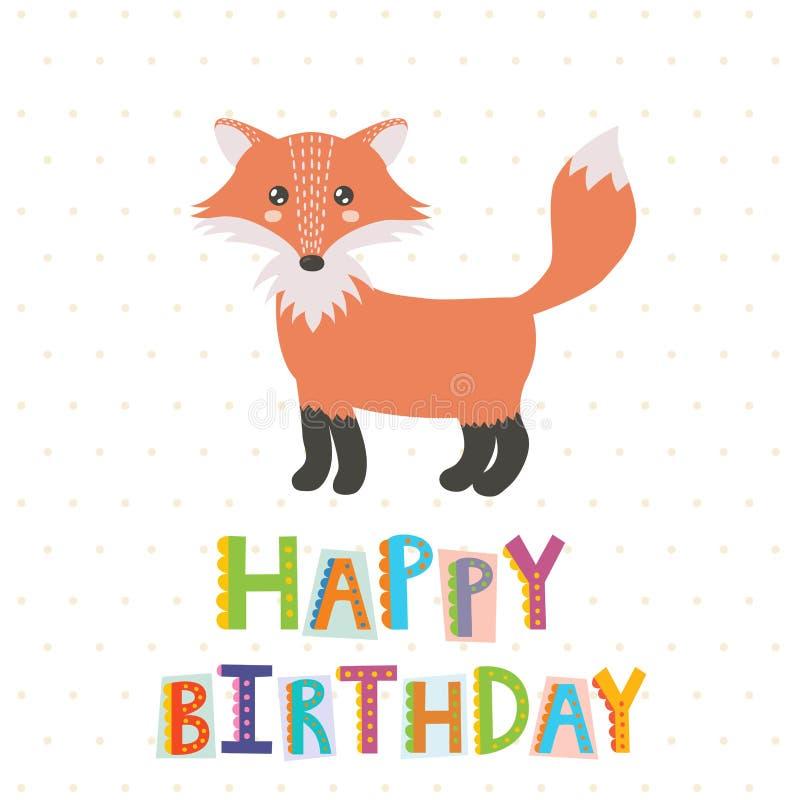 Tarjeta de felicitación del feliz cumpleaños con un zorro lindo ilustración del vector