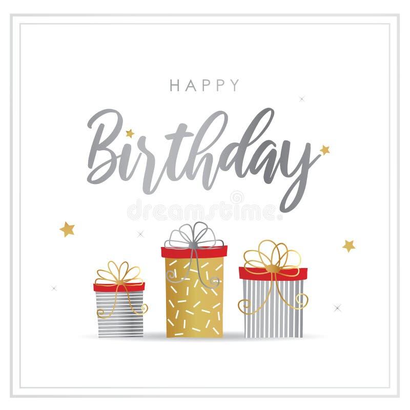 Tarjeta de felicitación del feliz cumpleaños con vector de la caja de regalo stock de ilustración