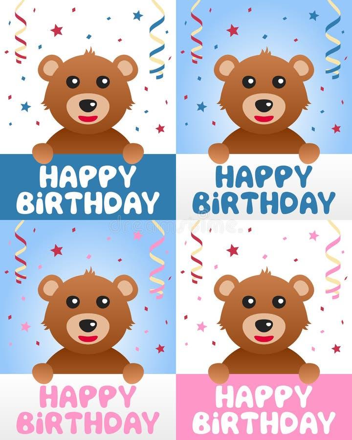 Oso de peluche del feliz cumpleaños ilustración del vector