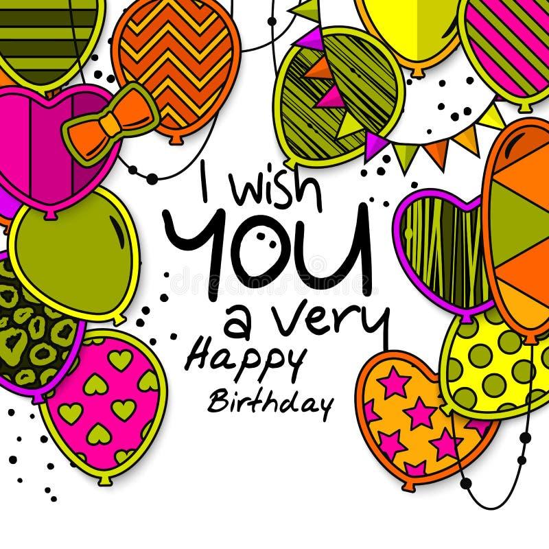 Tarjeta de felicitación del feliz cumpleaños Globos modelados con las estrellas, lunares, corazones, leopardo, galones, rayas col ilustración del vector